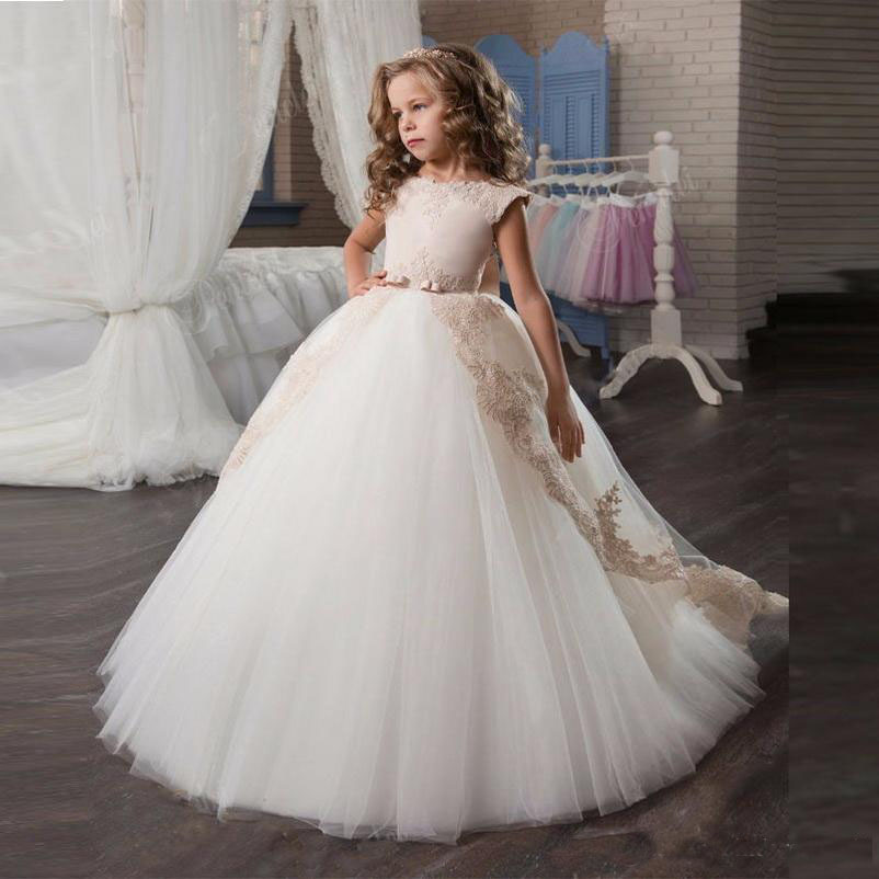 2019 Elegant   Girl   Pageant   Dresses   Princess Bow Short Sleeve Prom   Dress   Vestido Floor Length Graduation   Flower     Girl     Dresses