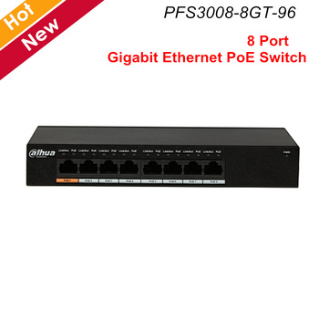 Dahua PoE Switch 8 Port Gigabit Ethernet PoE Switch Layer Twee Commerciële Schakelaar MAC Auto leren Aging PFS3008-8GT-96