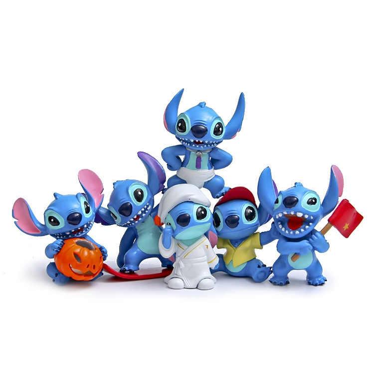 6 pcs Stitch figuras figurinhas figurativa figura brinquedos 2016 Novo ponto Chaveiro presente do Anel chave de cadeia e bonecas de Aniversário do Natal presente