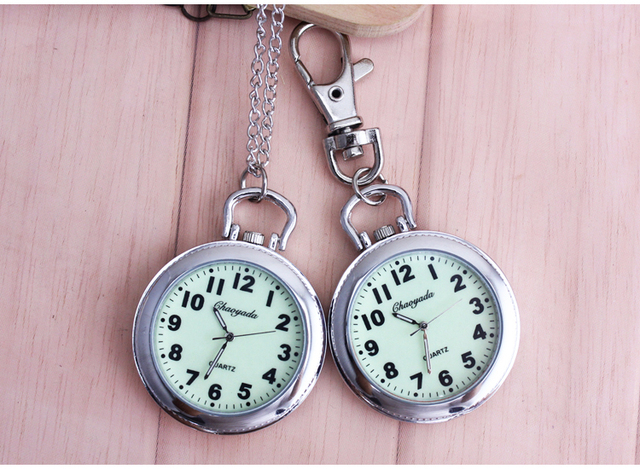 40mm dial Retro Steel Silver Case White Dial Analog Quartz Relogio Necklace Key