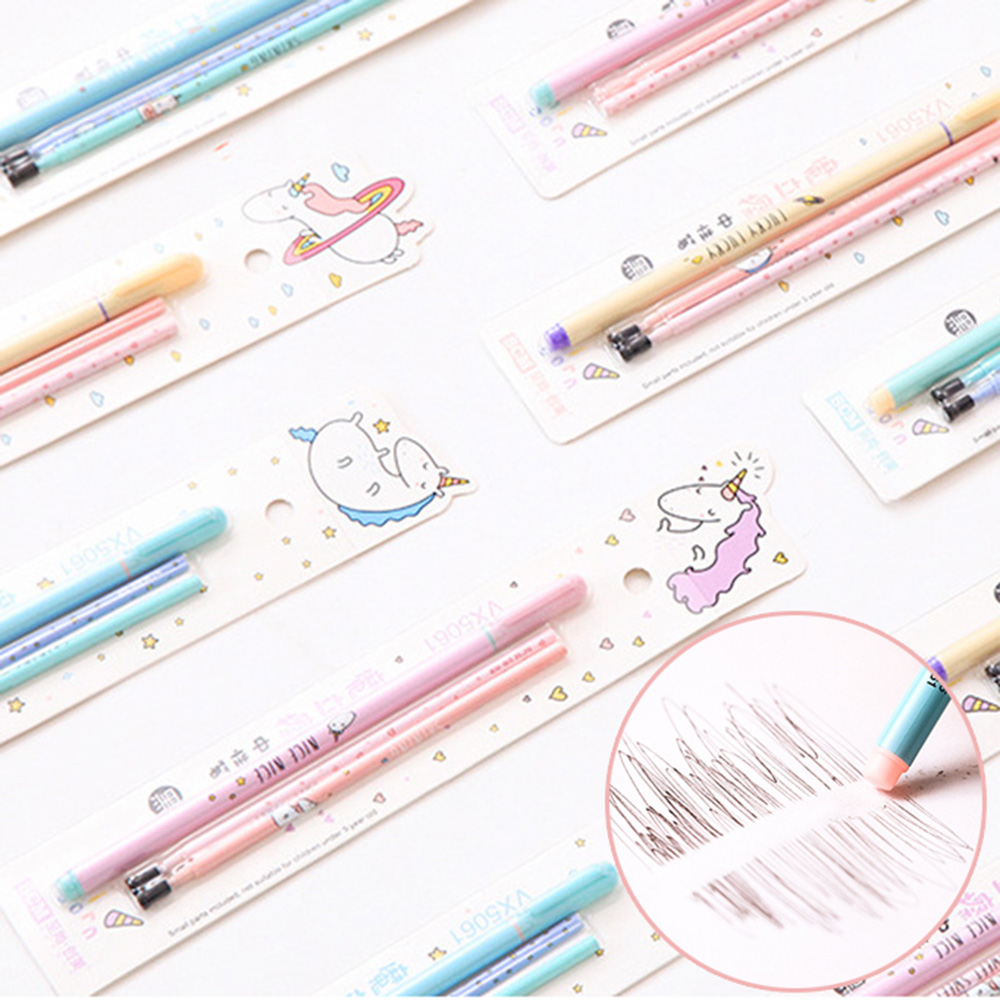 0.5mm Unicorn Erasable Pen Blue / Black ink Magic Gel Pen Kawaii Student Writing Stationery For School Office Supply Gift ac11 4x watercolor style gradient erasable gel pen writing signing pen school office supply stationery student gift rewarding