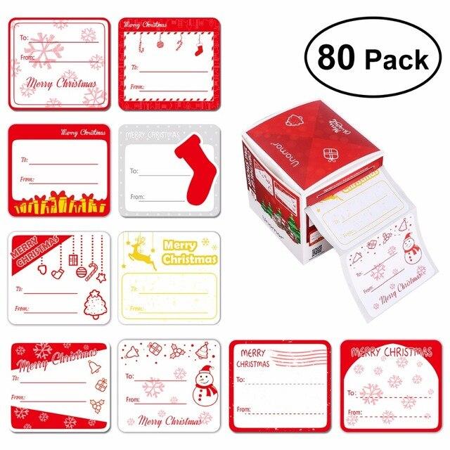 NICEXMAS 2 Rolls Christmas Gift Tag Stickers Adhesive Christmas