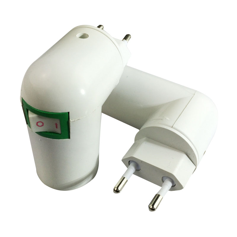 US/EU Plug PBT PP To E27 White Base LED Light Lamp Holder Bulb Adapter Converter Socket To E27