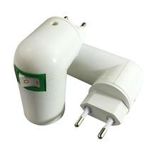 US/EU Plug PBT PP To E27 White Base LED Light Lamp Holder Bulb Adapter Converter Socket