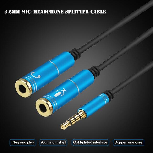 Jack 3.5mm micro + séparateur de casque câble 3.5 Aux rallonge câble 1 mâle à 2 femelle câble pour ordinateur Microphone téléphone portable