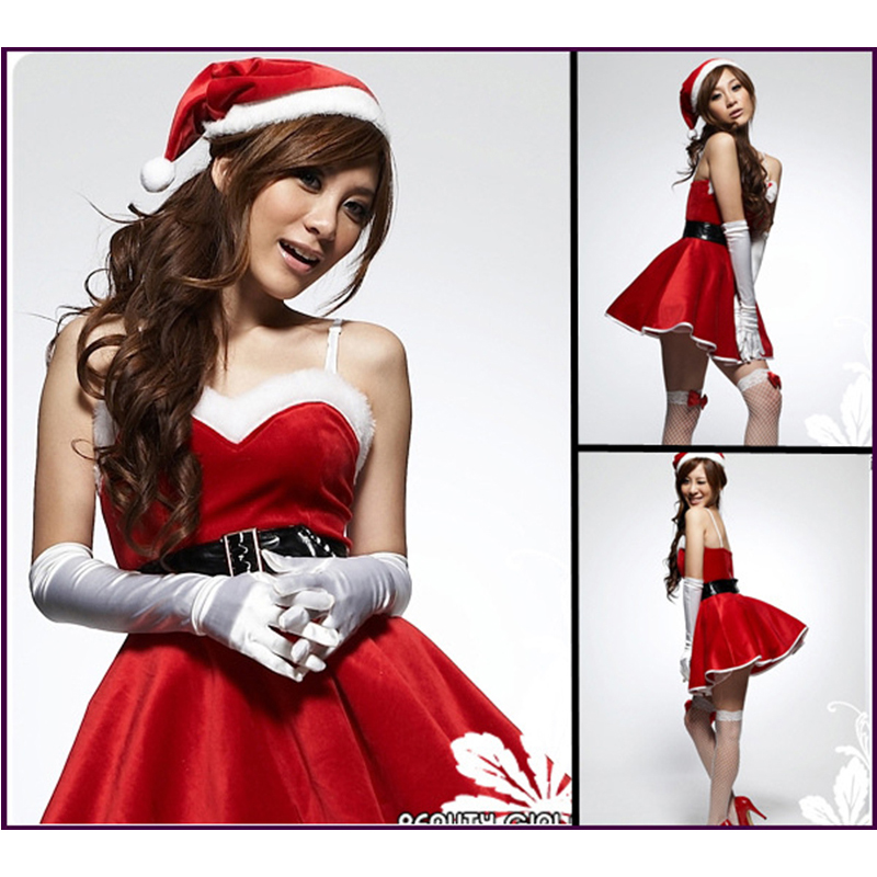 New Year Winter Santa Claus Christmas Costumes For Women Christmas Party Dress Stage Uniforms Temptation Cosplay Free Shipping