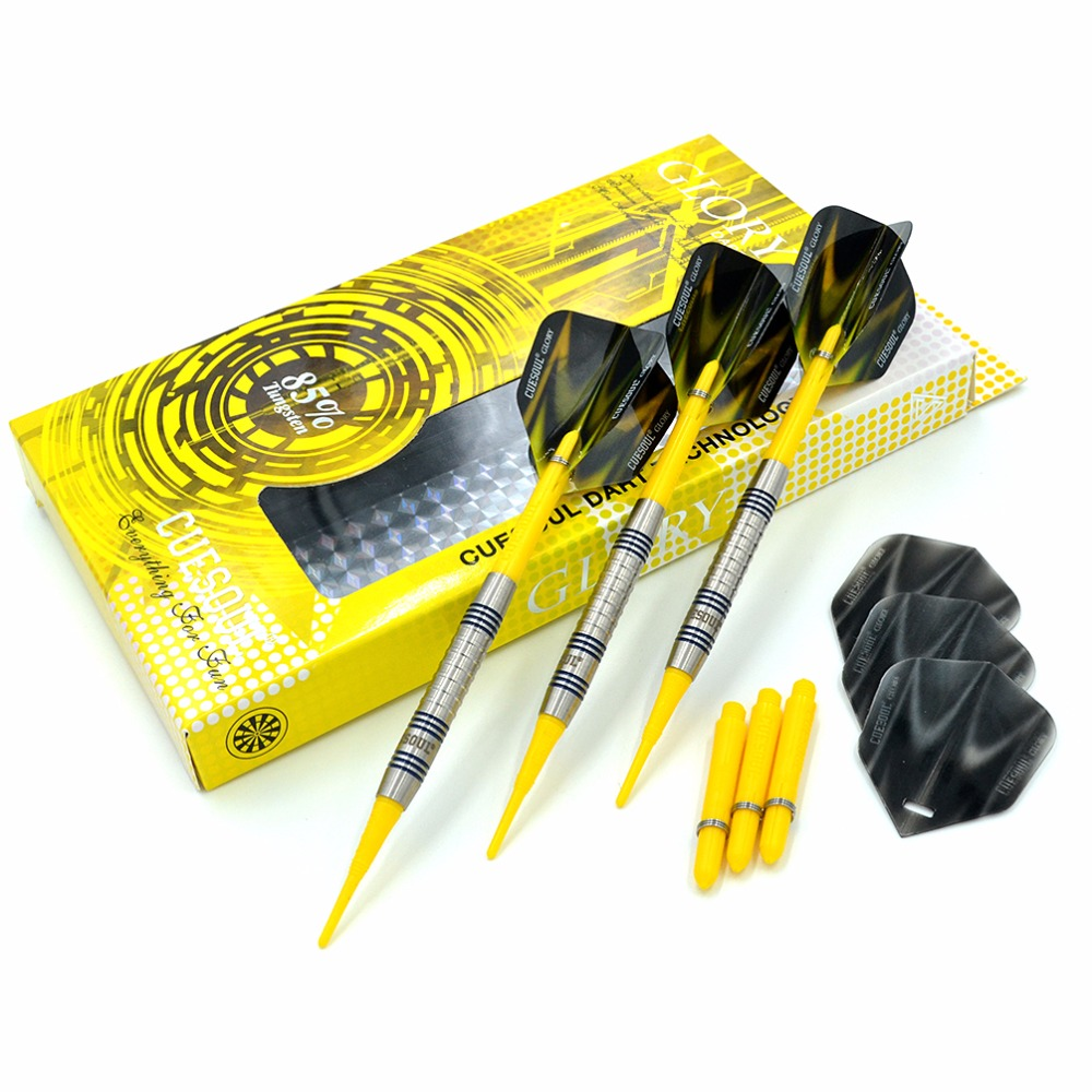 CUESOUL GLORY 85% Tungsten 16g Soft Tip Dart Set With Yellow Soft Dart TipsCUESOUL GLORY 85% Tungsten 16g Soft Tip Dart Set With Yellow Soft Dart Tips