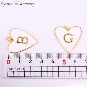 Image 5 - 10PCS, Gold Color White Enamel with Letter Pendant Necklace New Party Fashion Jewelry for Woman