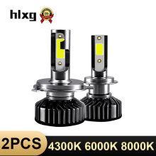 HLXG Mini H4 luces lamp H7 LED Far Car Headlight 12V 10000LM Bulb Accessories 10000K 5000K 6000K 8000K H11 9005 HB3 9006 HB4 H8(China)