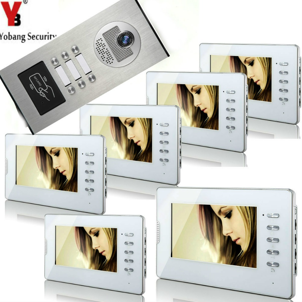 Yobang Security 6 Units Apartment RFID Access Camera 7'Inch Monitor Wired Video Door Phone Doorbell Speakerphone Intercom System smartyiba wired 7inch monitor video intercom door phone doorbell system outdoor rfid access camera intercom for 5 apartment