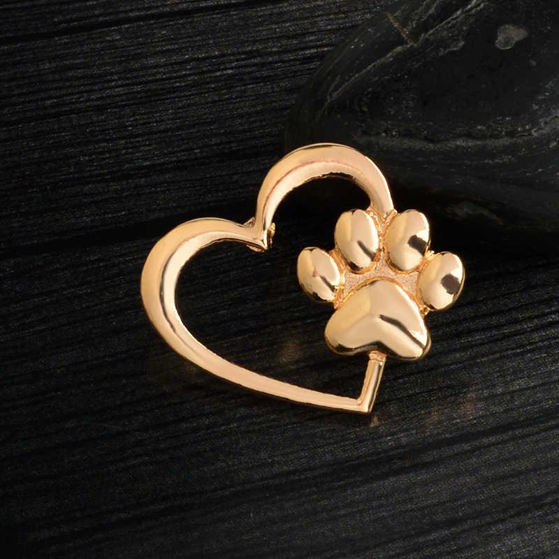 Miss Zoe Mengais Dalam Jantung Bros Anjing Cakar Kucing Kitten Cakar Pins Emas Perak Sweter Jarum Lencana Hadiah Perhiasan untuk wanita Perempuan Anak-anak