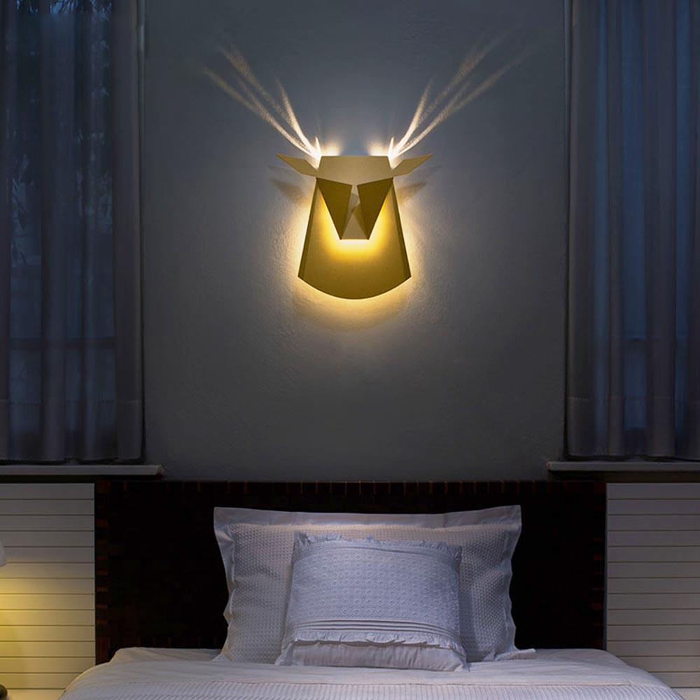 Nordic Vintage Origami Art Cow LED Lamp Light Fixtures Bedside Light Living Room Wall Sconce Lamp Bedroom Night Light Home Docor
