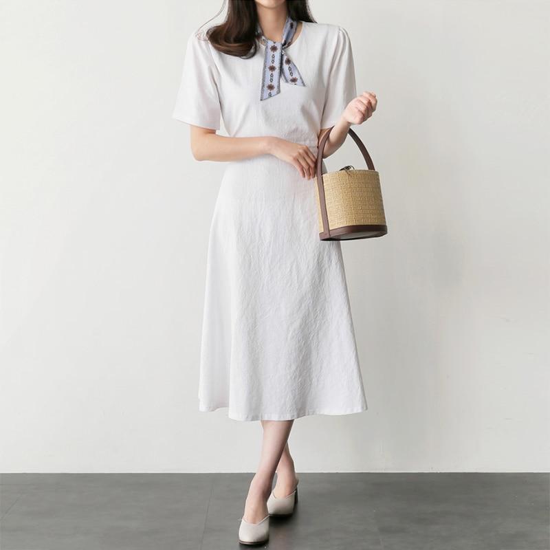 Summer Dress 2019 Korean Style Women Waist Tie Chic Elegant Midi Dress O-Neck Short Sleeve Cotton Linen Casual Ladies Dresses