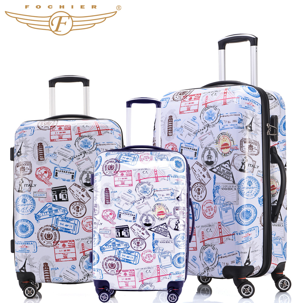 New Trolley Rolling Travel Hardside Luggage Sets 20 + 24 +28 inches 3 Pieces Set Stamp Print