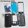 Черный Оригинальные Запасные Части Для Samsung Galaxy S3 i9300 Полный Дело Корпус Ближний рамка Задняя Крышка и Передняя Внешний Стекло