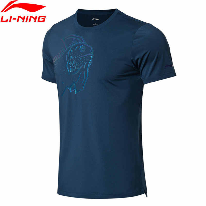 Li-Ning Mannen Badminton Serie T-shirts Ademend 81% Polyester 19% Spandex Flexibele Voering Sport Tees Tops AHSN705 COND18