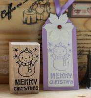 Merry Christmas Diy Greeting Card Snowman Wood Rubber Stamp Personalized Custom Wedding Invitation Card Seal Date