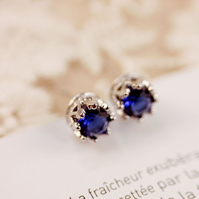 Sweet Cute Royal Blue Green Simple Stone Earrings Small Round Yellow Cubic Zirconia Women