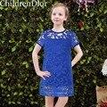 Meninas Princesa Vestido de Verão 2017 Roupas Infantis Menina Crianças Traje para As Meninas Vestido de Festa Sólidos Lace Crianças Vestido De Noiva