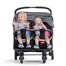 Детская коляска для близнецов, сидя, лежа, складная, два сиденья, двойная коляска для близнецов