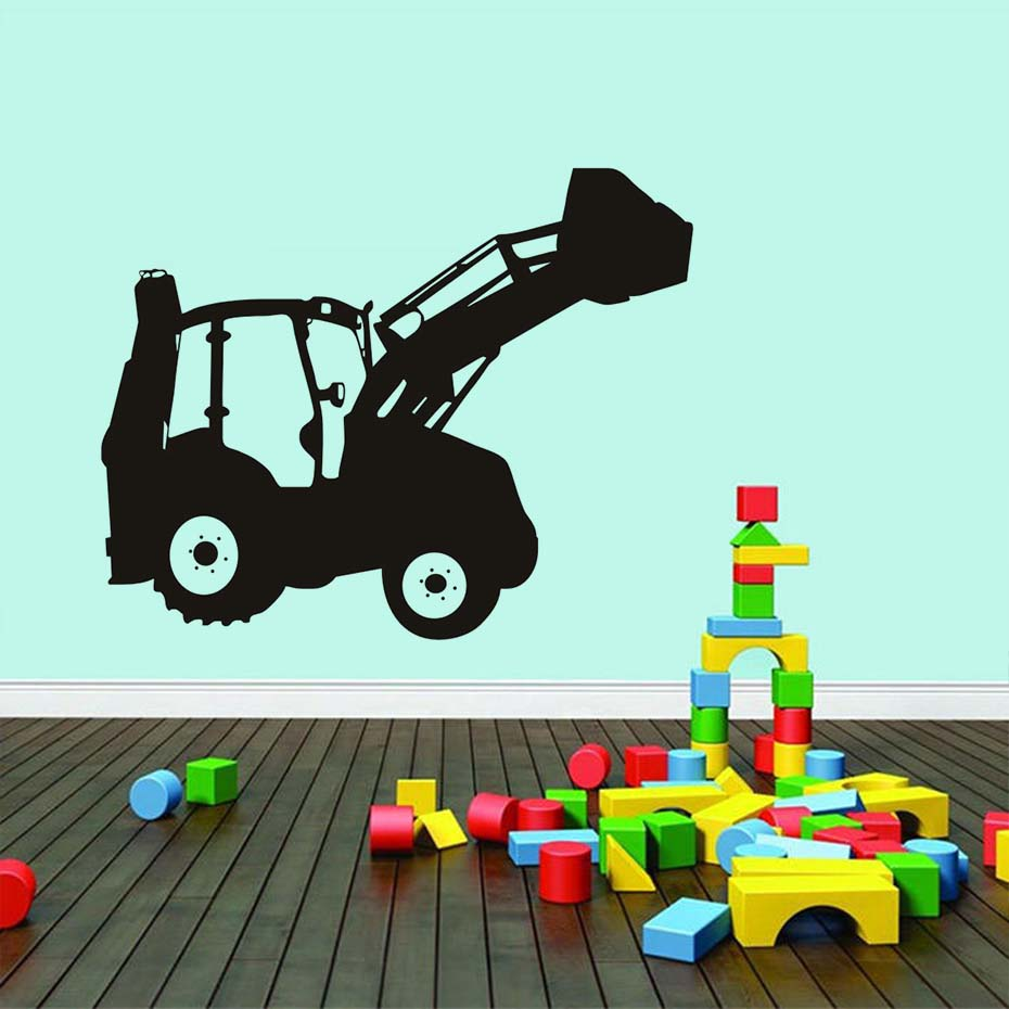 Digger Bulldozer Vinyl Wall Sticker For Kids Room Cute Small Lorry Art Decal Home Decor Removable Waterproof Mural Home Dcor