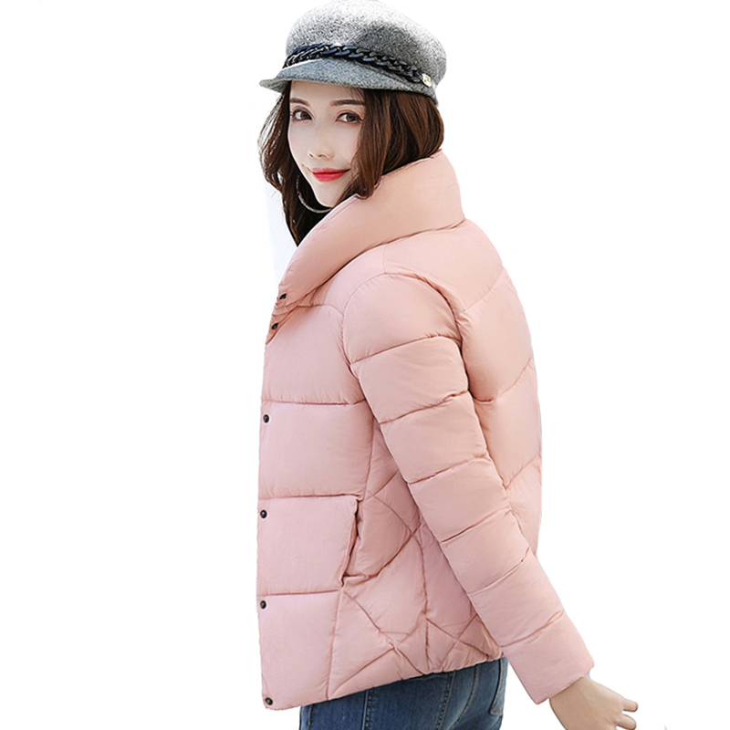 Stand Collar Breasted Buttons Winter   Jacket   Women Women's   Basic     Jackets   Outwear Short Female Coat Casaco Feminino Inverno