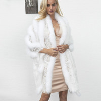 Luxury Lace Splice Striped Fur Scarf Faux Fur Cape Sexy Imitation Mink Fur Fox Fur Collar Poncho Cape Wedding Bridal Dress Shawl