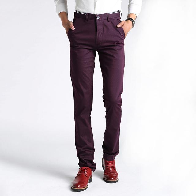 2016 chegada nova alta qualidade de algodão calça casual dos homens, Ternos de negócio calças dos homens, Roxo calças dos homens 28 - 36
