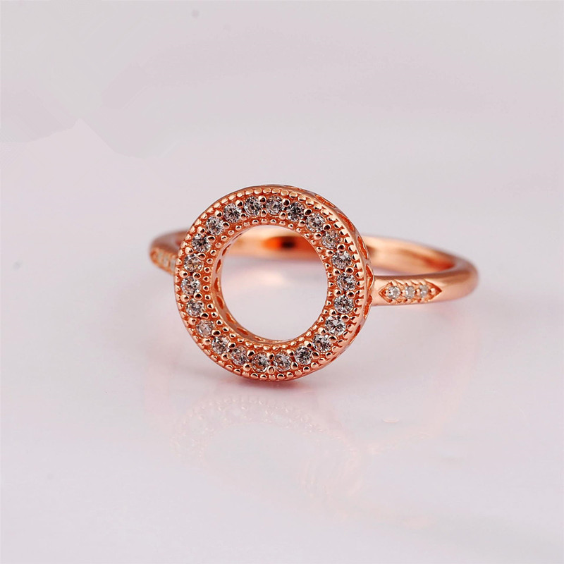 925 Charms Diy Ring For Women Rose Gold Color Full Crystal