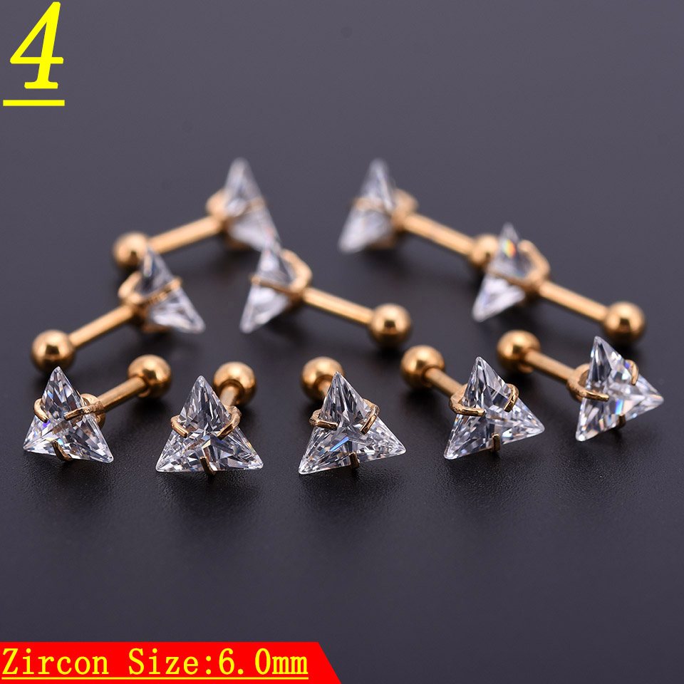 20Pcs Gold Zircon Crystal Round Ball Tongue Lip Bar Ring Stainless Steel Barbell Ear Stud Body Piercing Jewelry