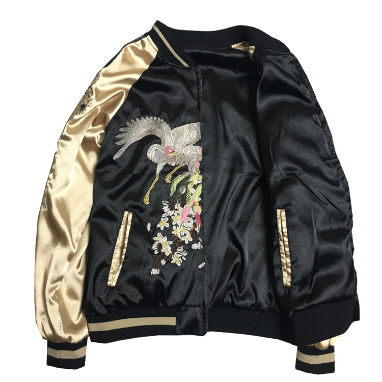 LYFZOUS New Black Embroidery <font><b>Jacket</b></font> Casual Loose Female Basic <font><b>Jackets</b></font> Coat Chic Women Spring Autumn <font><b>Bomber</b></font> <font><b>Jacket</b></font> <font><b>Unisex</b></font> Tops image