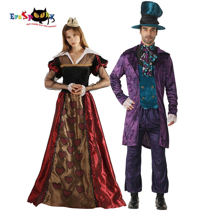 Eraspooky Alice In Wonderland Costume Adult Halloween Couple Costume Queen of hearts Women Mad Hatter Carnival Party Dress