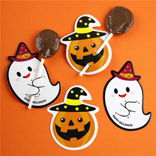50 pcs DIY Cute Devil Candy Decorations Paper Cards Message Lollipop Cards Halloween Gift(China)