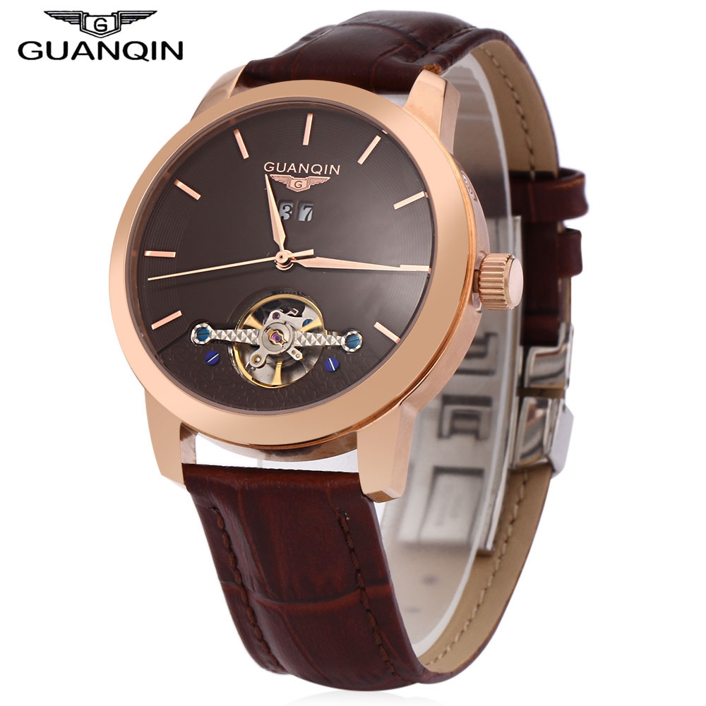 Фотография GUANQIN Men Tourbillon Auto Mechanical Watch Water Resistance Transparent Back Cover Calendar Wristwatch