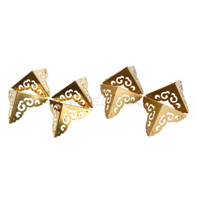 4pcs Brass Corners Furniture Brass/Antique Copper.Hardware for Cabinet Trunk Jewelry Box Chest Copper 6.5*6.5*6.5cm with Nails