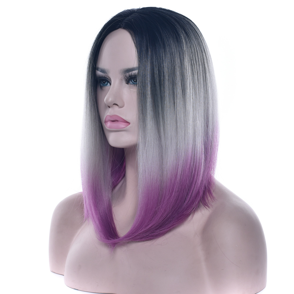 Soloowigs Straight Women Middle Part Full Lace Medium Wigs High Temperature Fiber Three Tone Ombre 14inch Synthetic Hair Pieces