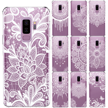 White Sexy Lace Flower Soft TPU Case Cover For Samsung Galaxy S5 Mini S6 S7 Edge S8 S9 S10 Plus S10 E Mandala Floral Coque image