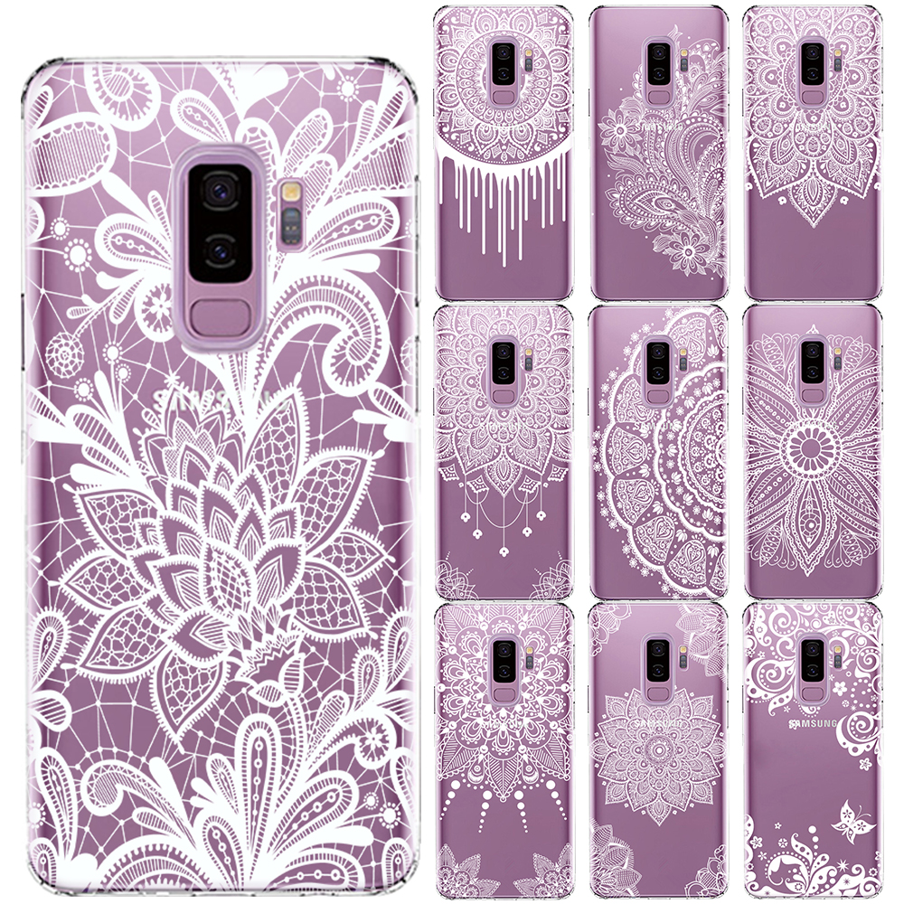 White <font><b>Sexy</b></font> Lace Flower Soft TPU <font><b>Case</b></font> Cover For Samsung Galaxy S5 Mini S6 S7 Edge <font><b>S8</b></font> S9 S10 Plus S10 E Mandala Floral Coque image
