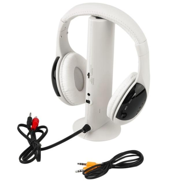 Multifuncional 5 em 1 Auscultadores Sem Fio HiFi Earphone Headset Wireless Monitor FM Rádio MP3 PC Celular TV Áudio Frete Grátis