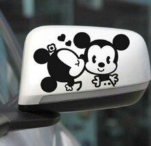 Komik Araba Sticker Sevimli Mickey Minnie Mouse Gözetleme Kapağı Çizikler Karikatür dikiz aynası Çıkartması Motosiklet Vw Bmw Ford Kia