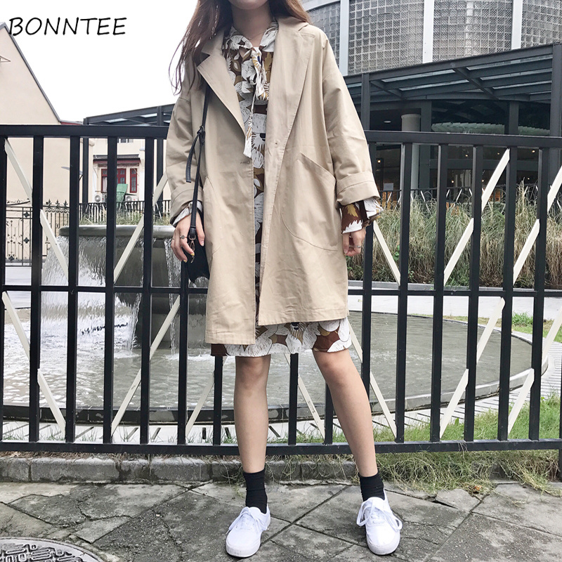Trench   Women Single Breasted Classic All-match Leisure Womens Loose Chic Korean Ladies Trendy Soft Slim Outerwear Daily Simple