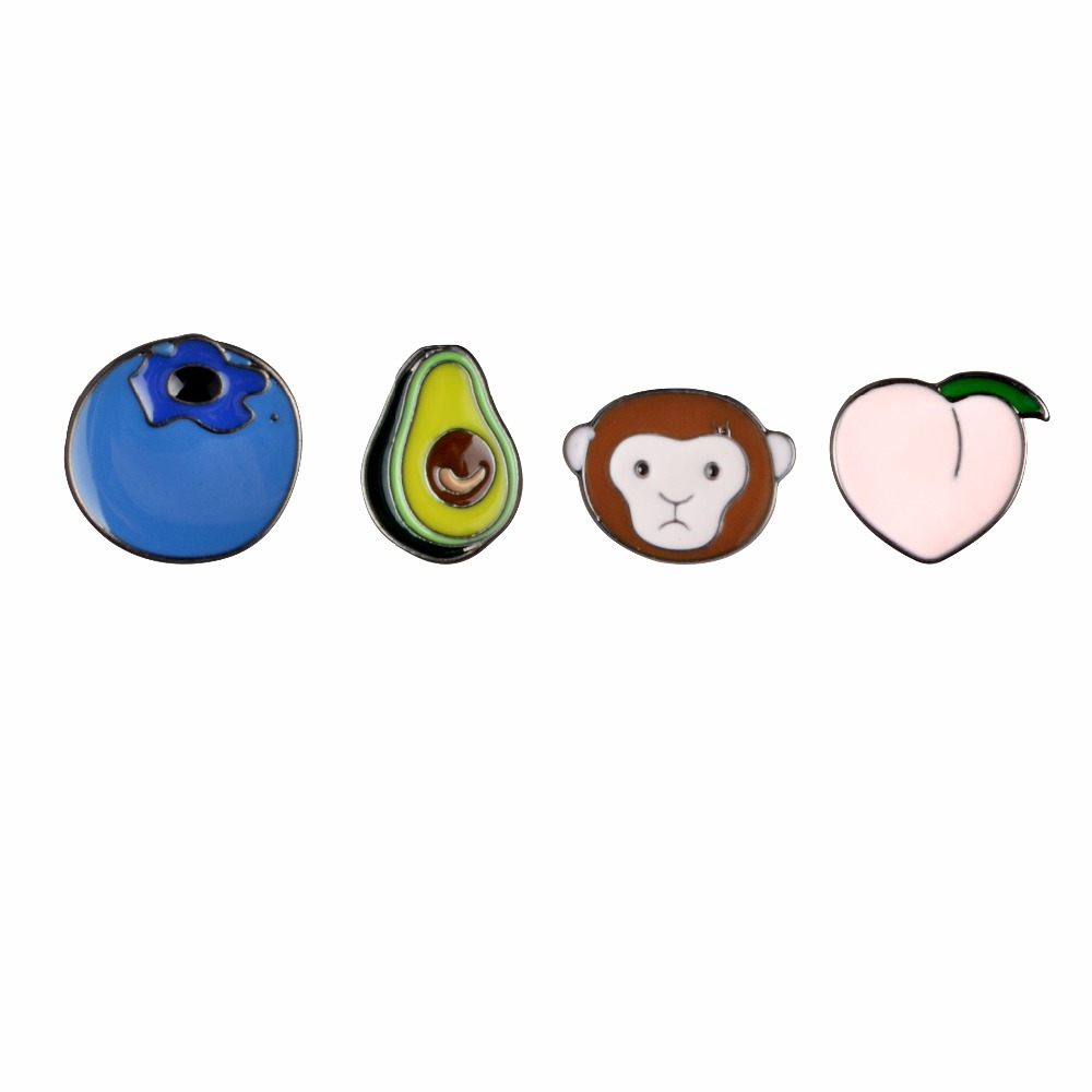 Cartoon Animal & Plant Cute Monkey Peach Avocado Blueberry Metal Brooch Pins DIY Button Pin Denim Jacket Pin Badge Gift Jewelry