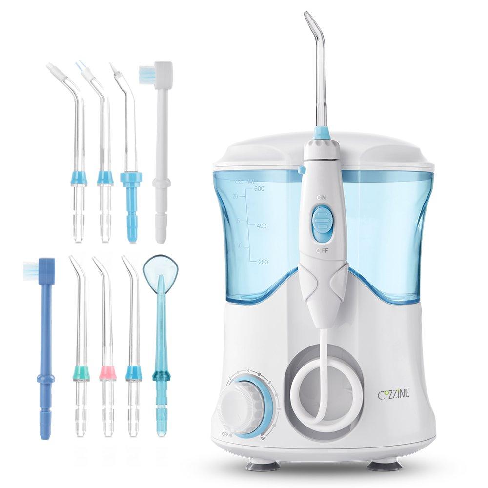 Cozzine eléctrica irrigador Oral 600 ml agua Flosser con 10 consejos hilo Dental Floss agua hogar herramienta de cuidado de higiene bucal