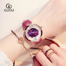 GUOU Watch Luxury Glitter Diamond Women Watches Fashion Leather Ladies Quartz Wrist watch Clock montre femme bayan kol saati цена и фото