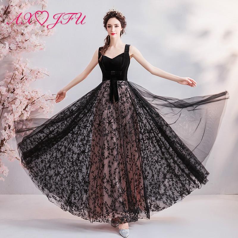 AXJFU schwarzer Spitze Stern Abendkleid Prinzessin Vintage ärmelloses Dubai Beach schwarzes Abendkleid wenig schwarzes Kleid 8766