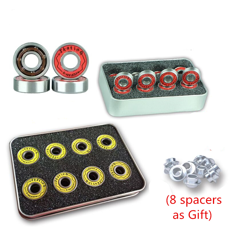 Original Feifan ILQ9 608 Bearing for Inline Skates Skateboard Scooter ILQ-9 Bearings for Slalom FSK Speed Skating with Iron Box