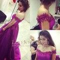 2016 Vestido de Fiesta con Cuello Barco Rebordear Apliques de Encaje de Color Fucsia Real Prom Vestidos de Noche