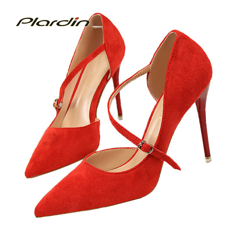 plardin New Summer Shoes Woman Sexy Fashion  Mary Jane Buckle Strap Lace-Up Pointed Toe High Thin Heels shoes for women Pumps mary sterling jane algebra ii essentials for dummies