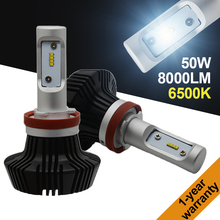 1 set 50W H8 H9 H11 LED Bulb 8000LM 6500K Cool White Replacement Car Fog Light Lamp 7th Headlight Daytime Running Light DRL