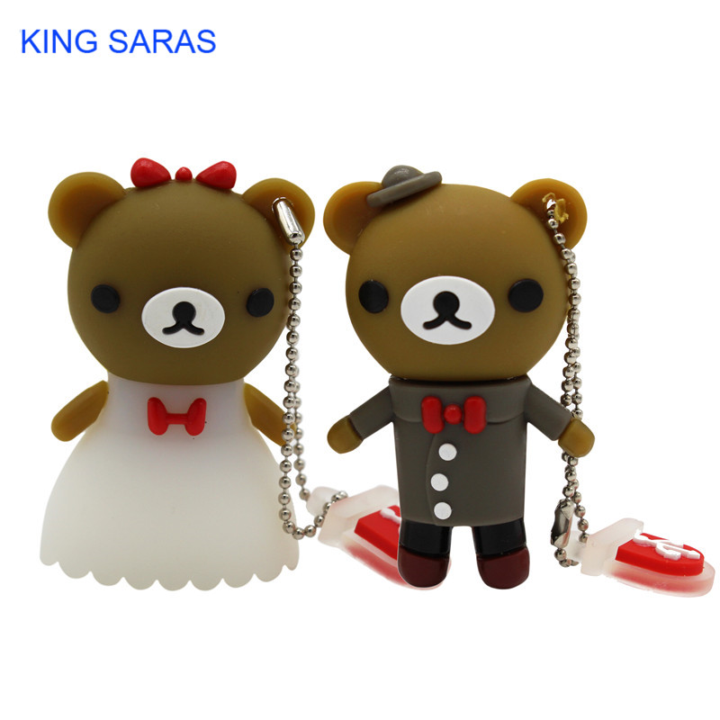 KING SARAS Cartoon Usb 2.0 Beautiful Bride And Groom Wedding Bear Usb Flash Drive  4GB 8GB 16GB 32GB 64GB Wdeeing Gift